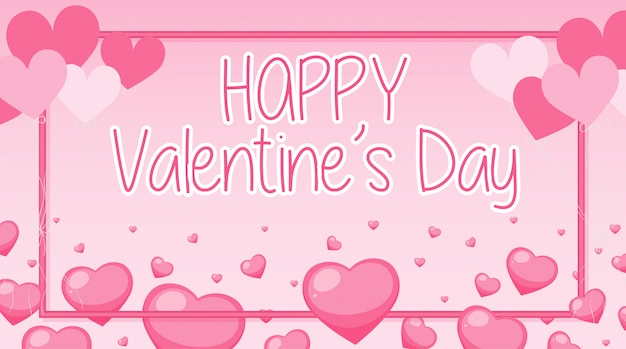 Banner di san valentino con cuori rosa e telaio Vettore gratuito