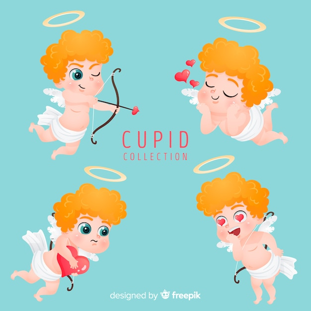 Valentine blonde cupid collection Free Vector