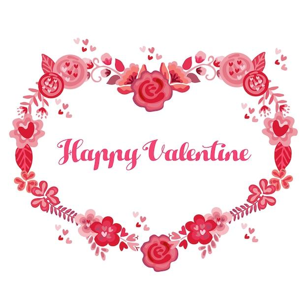 valentine border flowers heart shape vector premium download