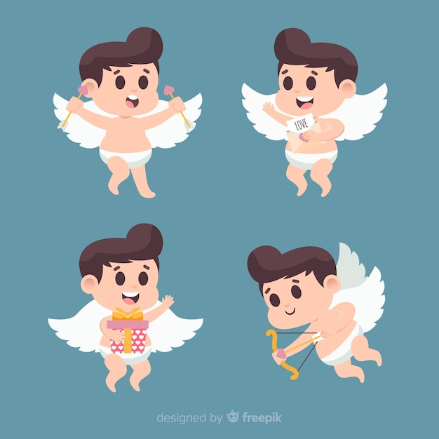 Valentine brunette cupid collection Free Vector