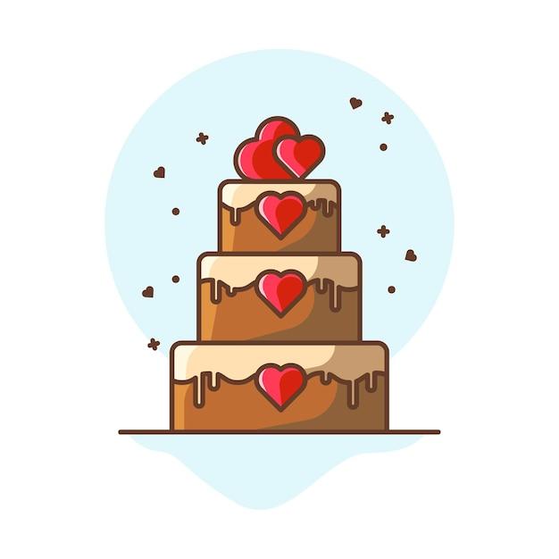 Valentine cake  icon illustrations.