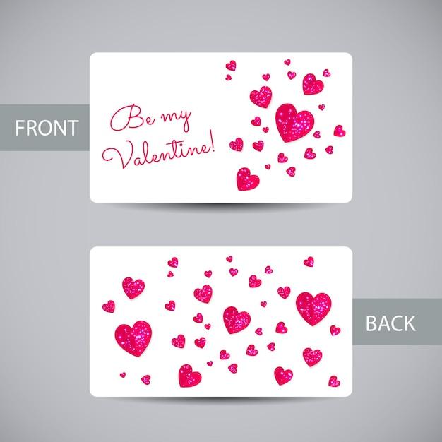 ハートのバレンタインカードテンプレート Premiumベクター
