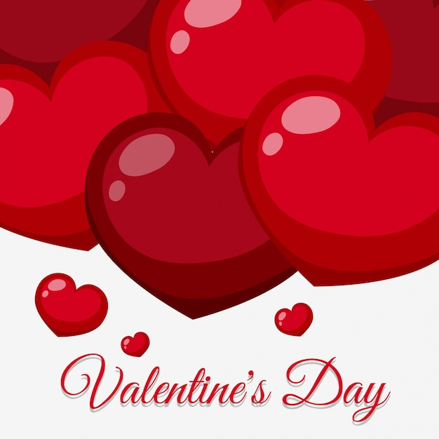 Valentine card template with red shiny hearts Vector