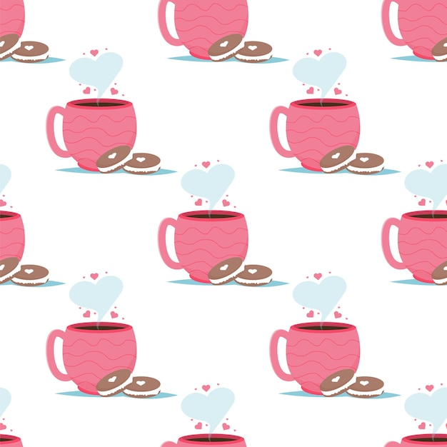 Valentine card with coffee cups macaroon dessert. love you seamless pattern. Premium Vector