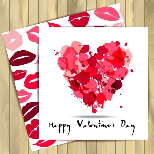 Valentine card with kisses and a heart Vector – Download Valentine Card