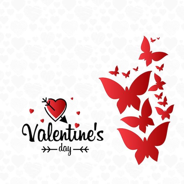 光のパターンの背景と心のバレンタインカード Premiumベクター