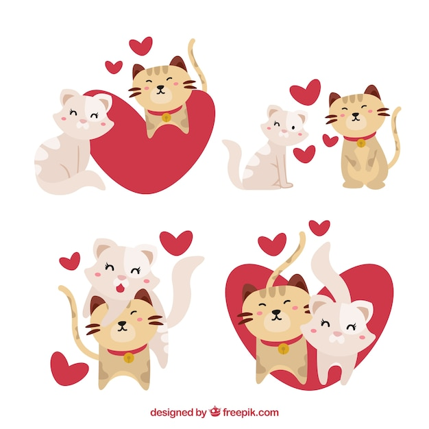 Valentine cat couple collection Free Vector