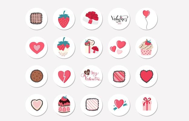 딸기, 심장 발렌타인 클립 아트 컬렉션입니다. Instagram 하이라이트 컬렉션 프리미엄 벡터