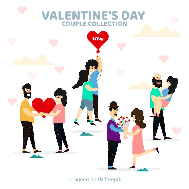 Valentine colorful couple collection Free Vector