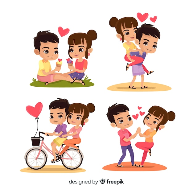 Valentine couple activities pack Free Vector
