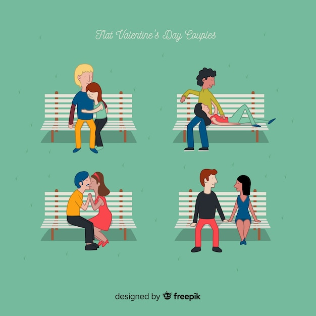 Valentine couple on a bench set Free Vector