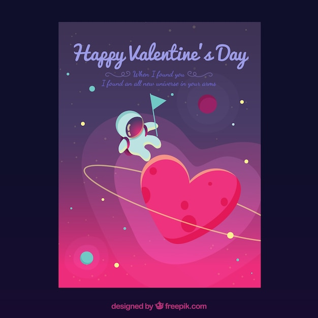 Valentine cover template with astronaut Vector | Free Download