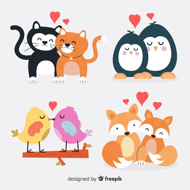 Valentine cute animal couple pack Free Vector