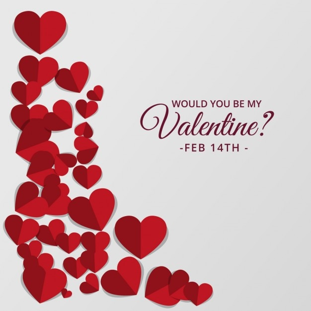 Valentine day background with cute hearts in red tones Free Vector