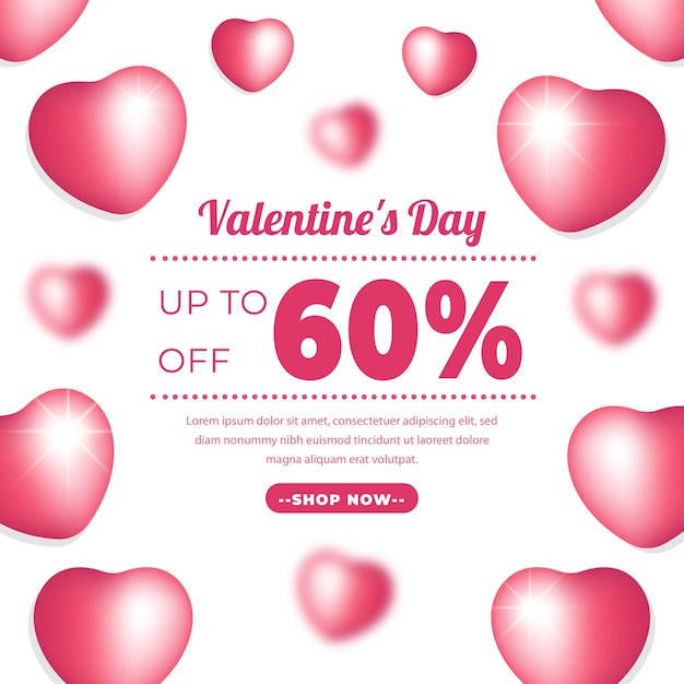 Valentine day banner with pink colour. Premium Vector