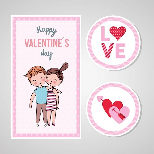 愛とステッカーのカップルとバレンタインデーカード。 Premiumベクター