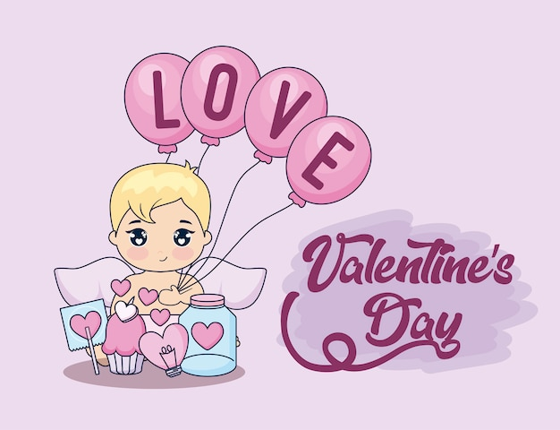 Valentine day card with cupid and set icons Premium Vector