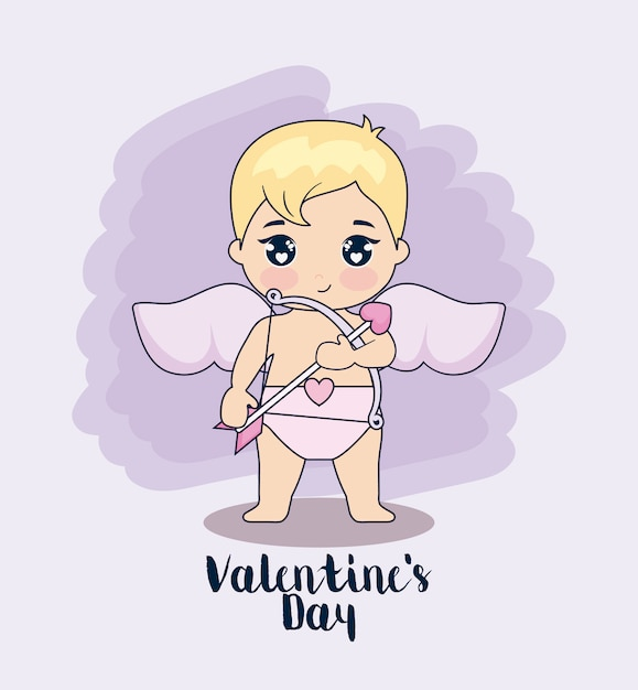 Valentine day card with cupid Premium Vector