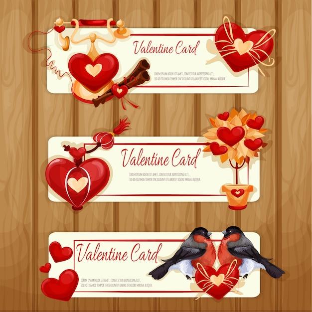 Valentine day cards Premium Vector