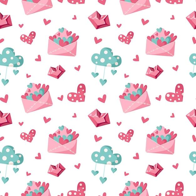 Бесшовный узор из мультфильмов на день святого валентина - милое письмо на день святого валентина, облако и сердце, детская бесконечная цифровая бумага розового и мятного цвета, фон для текстиля, скрапбукинг, оберточная бумага Premium векторы