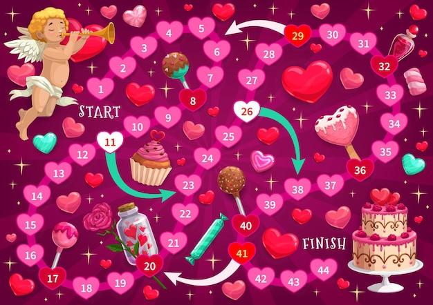 День святого валентина детская игра в лабиринт с купидоном и праздничными сладостями Premium векторы