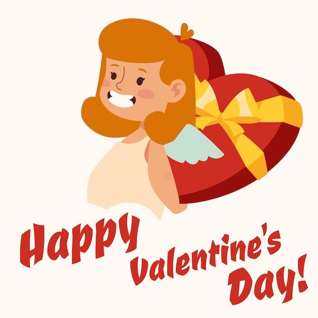 Valentine day cupid angel cartoon girl style vector Premium Vector