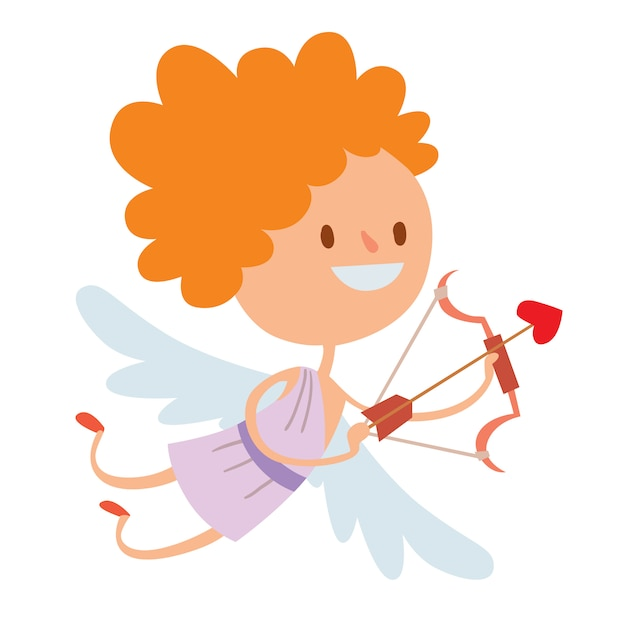Valentine day cupid angels cartoon style vector illustration Premium Vector