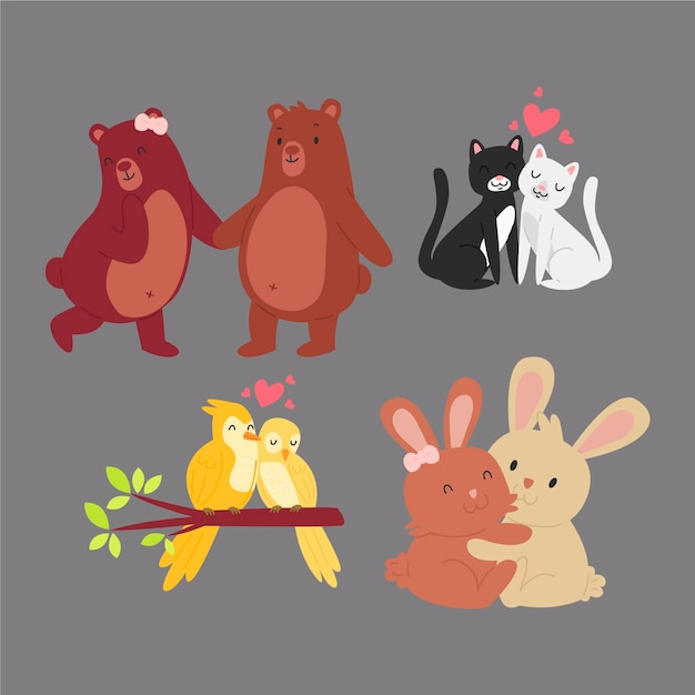 Valentine day cute animal couple Free Vector