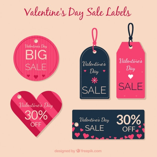 Valentine Day Cute Sale Labels Pack Vector  Premium Download