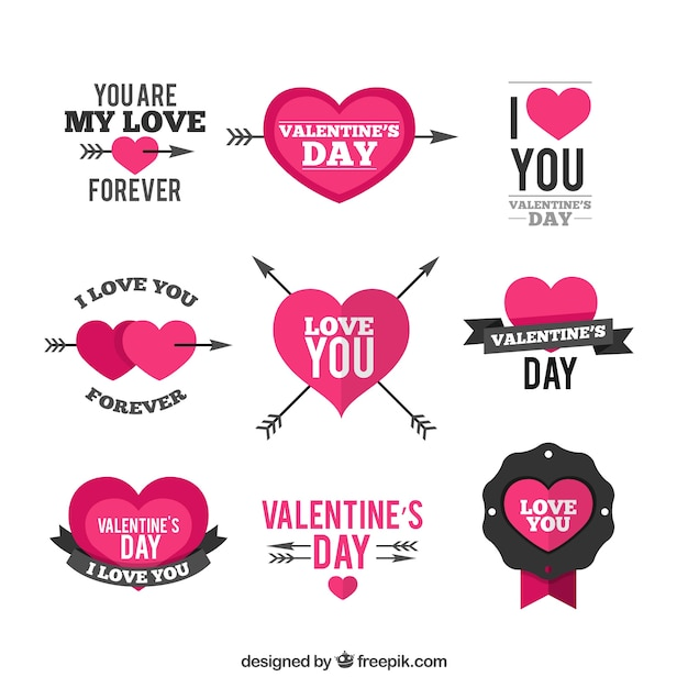 Valentine day decoration elements Premium Vector