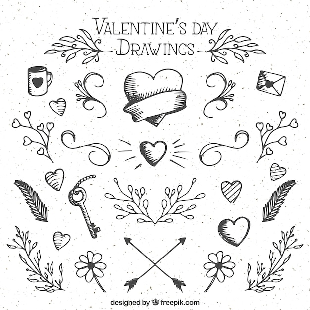 Valentine Day Drawings Free Vector
