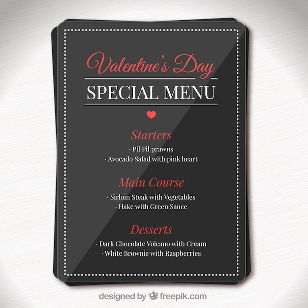 valentine day elegant special menu template vector | free download, Ideas