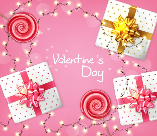 Valentine day gift boxes and lights garland Premium Vector
