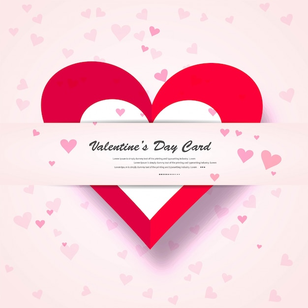Valentine Day Gift Card Holiday Love Heart Shape Background Stock