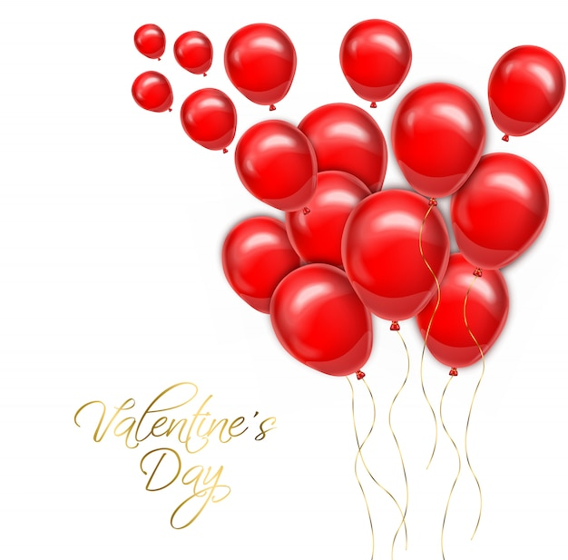 Valentine day golden text with red balloons Premium Vector