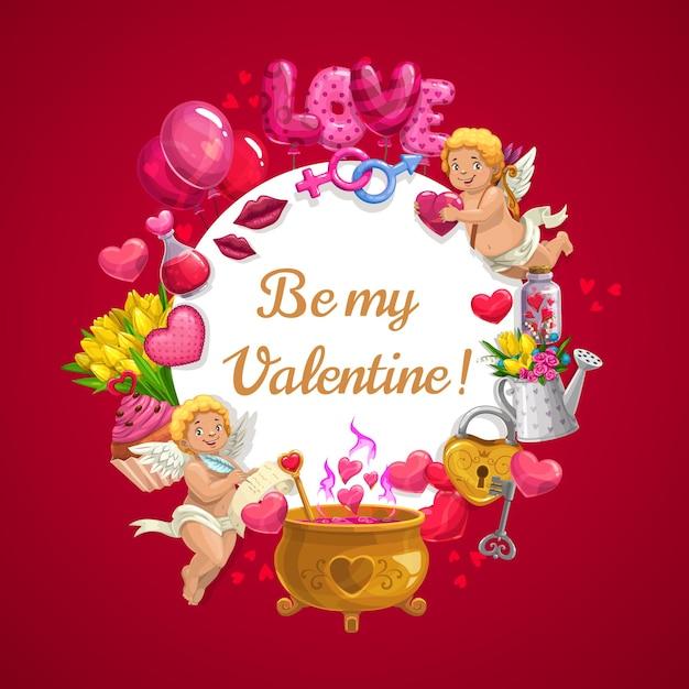 Валентина сердце воздушные шары, цветы и ангелы купидона с волшебным любовным зельем в золотом котле Premium векторы