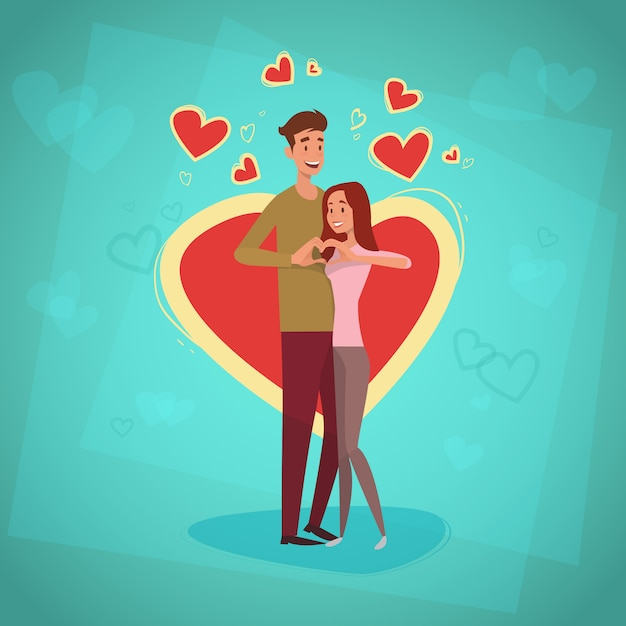 Valentine day holiday couple embrace love heart shape greeting card Premium Vector