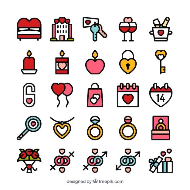 Valentine day icon set Free Vector