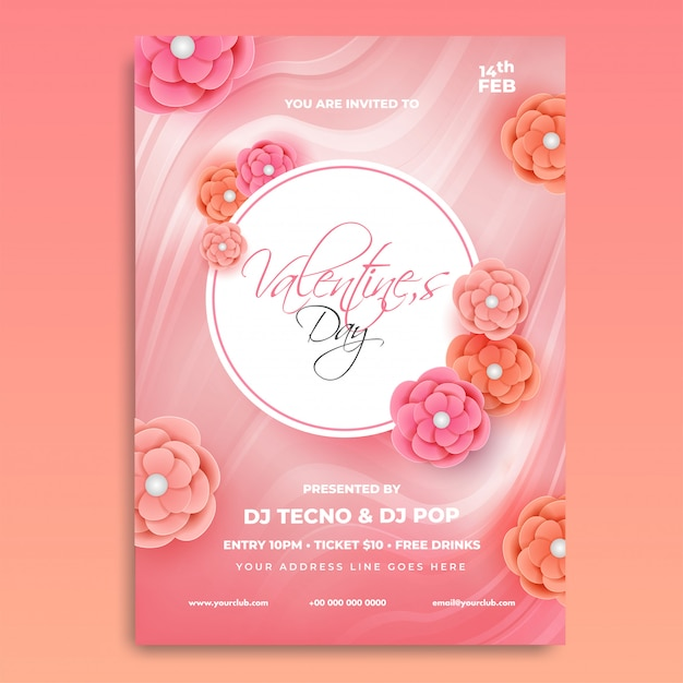 Valentine day invitation card design Premium Vector