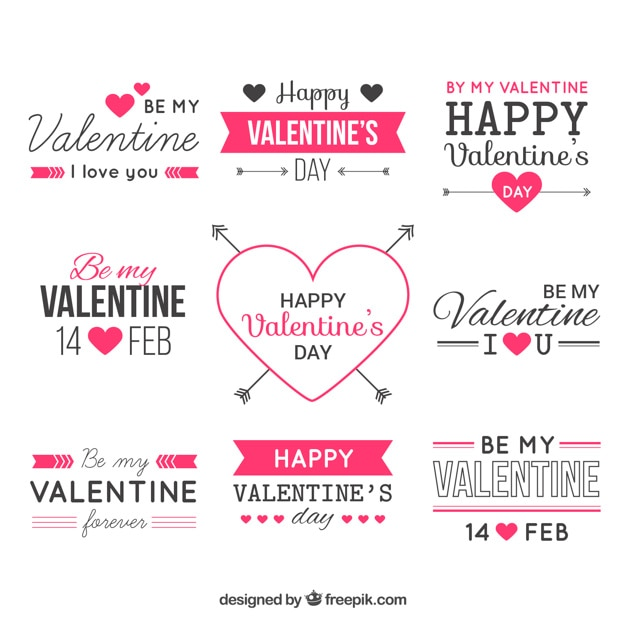 valentine day labels vector free download