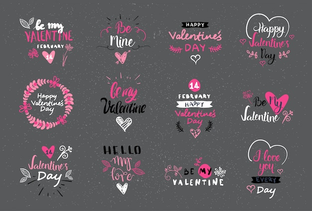 Valentine day lettering design set hand drawn logos, labels and stickers collection Premium Vector