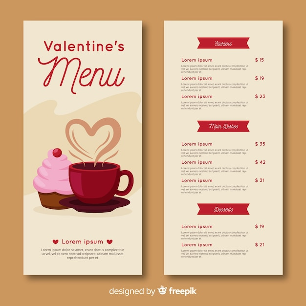 Valentine' day menu template Free Vector