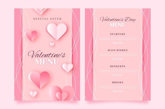 Valentine day menu template Free Vector
