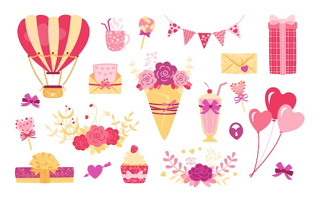 バレンタインの日や結婚式のフラット漫画セット。かわいいハート、ギフトブーケ、ボックス。ロリポップドリンク、お菓子ボールデザイン要素の休日。紫、オブジェクトコレクション。孤立した図 Premiumベクター