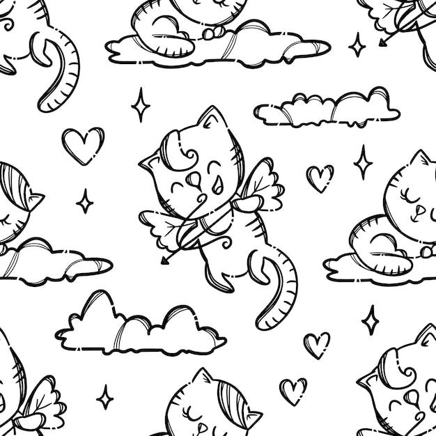 バレンタインデーパーティーかわいい子猫キューピッドはアーチェリー愛好家を撮影しますモノクロ手描き漫画シームレスパターン Premiumベクター