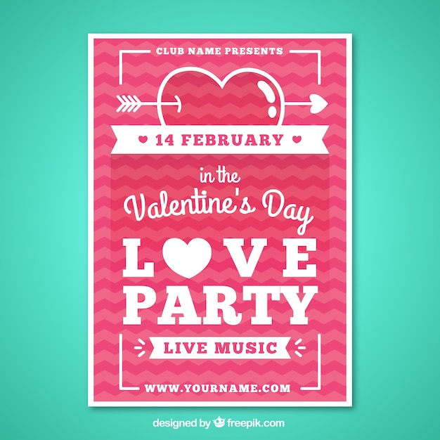 Valentine day party poster in a flat design Free Vector