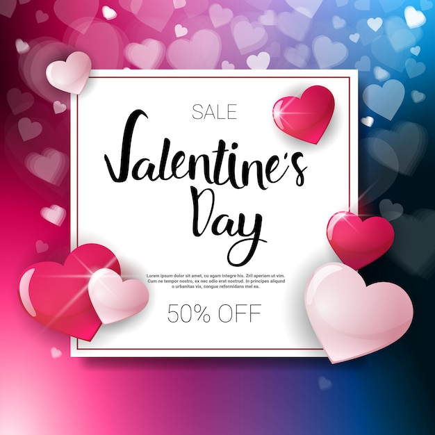 Valentine day sale flyer template with copy space holiday discouns concept Premium Vector