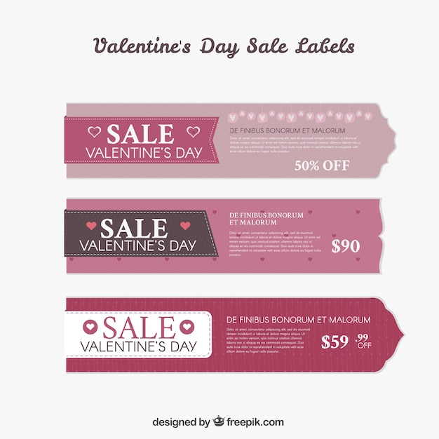 Valentine day sale labels pack Premium Vector