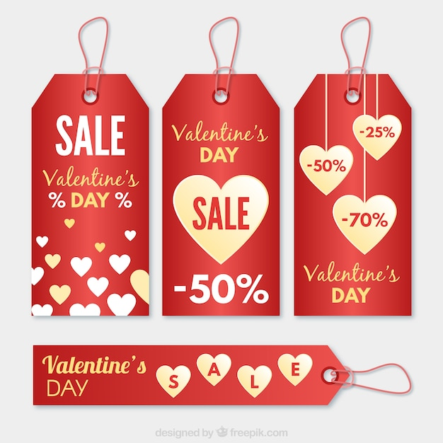 Valentine Day Sale Tags Free Vector