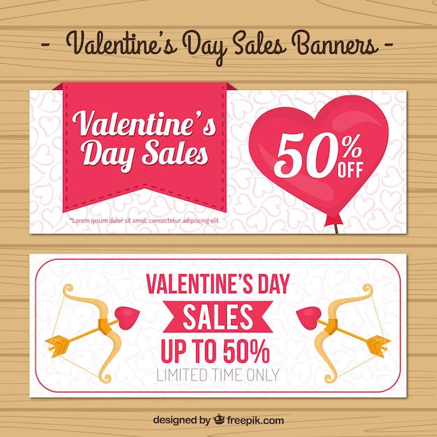 Valentine Day Sales Banners Vector Free Download